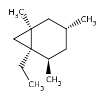 2d structure of (1R,2R,4R,6R)-1-ethyl-2,4,6-trimethylbicyclo[4.1.0]heptane