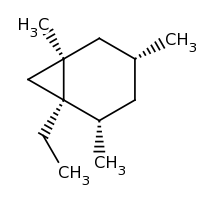 2d structure of (1R,2S,4R,6R)-1-ethyl-2,4,6-trimethylbicyclo[4.1.0]heptane