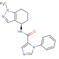 2d structure of N-[(4R)-1-methyl-4,5,6,7-tetrahydro-1H-indazol-4-yl]-1-phenyl-1H-imidazole-5-carboxamide