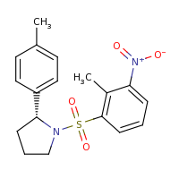 2d structure of (2R)-1-[(2-methyl-3-nitrobenzene)sulfonyl]-2-(4-methylphenyl)pyrrolidine
