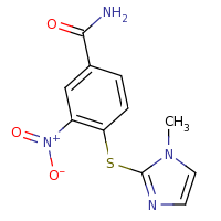 2d structure of 4-[(1-methyl-1H-imidazol-2-yl)sulfanyl]-3-nitrobenzamide