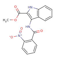 2d structure of methyl 3-[(2-nitrobenzene)amido]-1H-indole-2-carboxylate