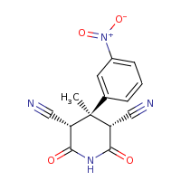 2d structure of (3S,4R,5R)-4-methyl-4-(3-nitrophenyl)-2,6-dioxopiperidine-3,5-dicarbonitrile