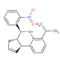 2d structure of (3aS,4S,9bS)-4-(2-nitrophenyl)-6-(propan-2-yl)-3H,3aH,4H,5H,9bH-cyclopenta[c]quinoline