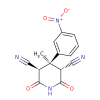 2d structure of (3R,5R)-4-methyl-4-(3-nitrophenyl)-2,6-dioxopiperidine-3,5-dicarbonitrile