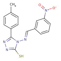 2d structure of 5-(4-methylphenyl)-4-[(E)-[(3-nitrophenyl)methylidene]amino]-4H-1,2,4-triazole-3-thiol