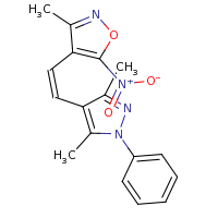 2d structure of 4-[(Z)-2-(3,5-dimethyl-1-phenyl-1H-pyrazol-4-yl)ethenyl]-3-methyl-5-nitro-1,2-oxazole