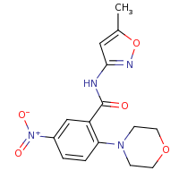 2d structure of N-(5-methyl-1,2-oxazol-3-yl)-2-(morpholin-4-yl)-5-nitrobenzamide