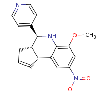 2d structure of 4-[(3aS,4S,9bR)-6-methoxy-8-nitro-3H,3aH,4H,5H,9bH-cyclopenta[c]quinolin-4-yl]pyridine
