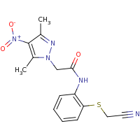 2d structure of N-{2-[(cyanomethyl)sulfanyl]phenyl}-2-(3,5-dimethyl-4-nitro-1H-pyrazol-1-yl)acetamide