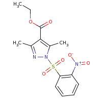 2d structure of ethyl 3,5-dimethyl-1-[(2-nitrobenzene)sulfonyl]-1H-pyrazole-4-carboxylate