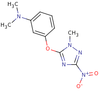 2d structure of N,N-dimethyl-3-[(1-methyl-3-nitro-1H-1,2,4-triazol-5-yl)oxy]aniline