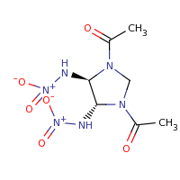 2d structure of 1-[(4R,5R)-3-acetyl-4,5-bis(nitroamino)imidazolidin-1-yl]ethan-1-one