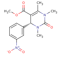 2d structure of methyl (4R)-1,3,6-trimethyl-4-(3-nitrophenyl)-2-oxo-1,2,3,4-tetrahydropyrimidine-5-carboxylate