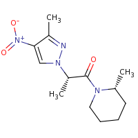 2d structure of (2S)-2-(3-methyl-4-nitro-1H-pyrazol-1-yl)-1-[(2R)-2-methylpiperidin-1-yl]propan-1-one