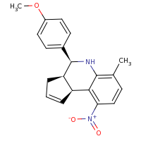 2d structure of (3aR,4S,9bS)-4-(4-methoxyphenyl)-6-methyl-9-nitro-3H,3aH,4H,5H,9bH-cyclopenta[c]quinoline