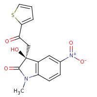 2d structure of (3S)-3-hydroxy-1-methyl-5-nitro-3-[2-oxo-2-(thiophen-2-yl)ethyl]-2,3-dihydro-1H-indol-2-one