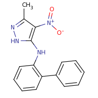 2d structure of 3-methyl-4-nitro-N-(2-phenylphenyl)-1H-pyrazol-5-amine