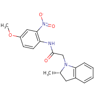 2d structure of N-(4-methoxy-2-nitrophenyl)-2-[(2S)-2-methyl-2,3-dihydro-1H-indol-1-yl]acetamide
