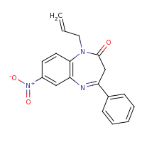 2d structure of 7-nitro-4-phenyl-1-(prop-2-en-1-yl)-2,3-dihydro-1H-1,5-benzodiazepin-2-one