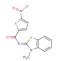 2d structure of N-(3-methyl-2,3-dihydro-1,3-benzothiazol-2-ylidene)-5-nitrothiophene-2-carboxamide