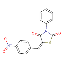 2d structure of (5E)-5-[(4-nitrophenyl)methylidene]-3-phenyl-1,3-thiazolidine-2,4-dione
