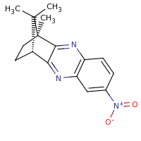 2d structure of (1S,12R)-1,15,15-trimethyl-7-nitro-3,10-diazatetracyclo[10.2.1.0^{2,11}.0^{4,9}]pentadeca-2,4(9),5,7,10-pentaene