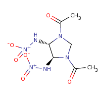 2d structure of 1-[(4S,5S)-3-acetyl-4,5-bis(nitroamino)imidazolidin-1-yl]ethan-1-one