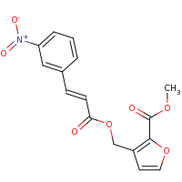 2d structure of methyl 3-({[(2E)-3-(3-nitrophenyl)prop-2-enoyl]oxy}methyl)furan-2-carboxylate