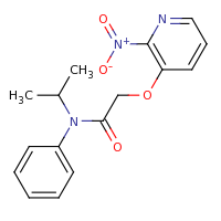 2d structure of 2-[(2-nitropyridin-3-yl)oxy]-N-phenyl-N-(propan-2-yl)acetamide