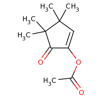 2d structure of 3,3,4,4-tetramethyl-5-oxocyclopent-1-en-1-yl acetate