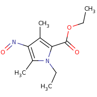 2d structure of ethyl 1-ethyl-3,5-dimethyl-4-nitroso-1H-pyrrole-2-carboxylate