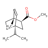 2d structure of methyl (1R,2S,4R)-1-methyl-4-(propan-2-yl)bicyclo[2.2.2]oct-5-ene-2-carboxylate