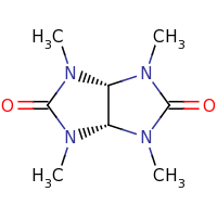 2d structure of 1,3,4,6-tetramethyl-octahydroimidazo[4,5-d]imidazolidine-2,5-dione