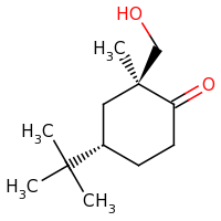 2d structure of (2S,4S)-4-tert-butyl-2-(hydroxymethyl)-2-methylcyclohexan-1-one
