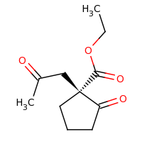 2d structure of ethyl (1R)-2-oxo-1-(2-oxopropyl)cyclopentane-1-carboxylate