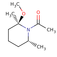 2d structure of 1-[(2R,6R)-2-methoxy-2,6-dimethylpiperidin-1-yl]ethan-1-one