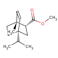 2d structure of methyl (1R,2R,4R)-1-methyl-4-(propan-2-yl)bicyclo[2.2.2]oct-5-ene-2-carboxylate