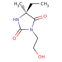 2d structure of (5S)-5-ethyl-3-(2-hydroxyethyl)-5-methylimidazolidine-2,4-dione