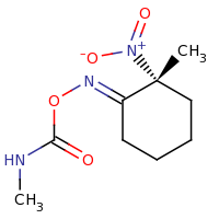 2d structure of [(1E,2R)-2-methyl-2-nitrocyclohexylidene]amino N-methylcarbamate