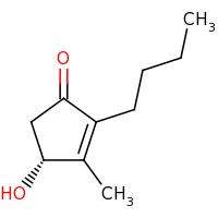 2d structure of (4R)-2-butyl-4-hydroxy-3-methylcyclopent-2-en-1-one