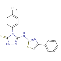 2d structure of 4-(4-methylphenyl)-3-[(4-phenyl-1,3-thiazol-2-yl)amino]-4,5-dihydro-1H-1,2,4-triazole-5-thione