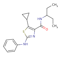 2d structure of 5-cyclopropyl-N-(pentan-3-yl)-2-(phenylamino)-1,3-thiazole-4-carboxamide