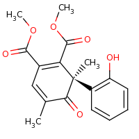 2d structure of 1,2-dimethyl (6R)-6-(2-hydroxyphenyl)-4,6-dimethyl-5-oxocyclohexa-1,3-diene-1,2-dicarboxylate