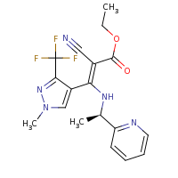 2d structure of ethyl (2Z)-2-cyano-3-[1-methyl-3-(trifluoromethyl)-1H-pyrazol-4-yl]-3-{[(1R)-1-(pyridin-2-yl)ethyl]amino}prop-2-enoate