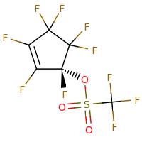 2d structure of (1S)-1,2,3,4,4,5,5-heptafluorocyclopent-2-en-1-yl trifluoromethanesulfonate