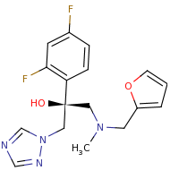 2d structure of (2S)-2-(2,4-difluorophenyl)-1-[(furan-2-ylmethyl)(methyl)amino]-3-(1H-1,2,4-triazol-1-yl)propan-2-ol