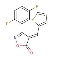 2d structure of (4E)-3-(2,5-difluorophenyl)-4-(thiophen-2-ylmethylidene)-4,5-dihydro-1,2-oxazol-5-one