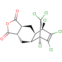 2d structure of (1R,2R,4S,8S,10S,11S)-1,11,12,13,14,14-hexachloro-6-oxatetracyclo[9.2.1.0^{2,10}.0^{4,8}]tetradec-12-ene-5,7-dione