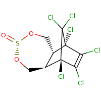 2d structure of (1R,2R,5R,8R,9S)-1,9,10,11,12,12-hexachloro-4,6-dioxa-5$l^{4}-thiatricyclo[7.2.1.0^{2,8}]dodec-10-en-5-one